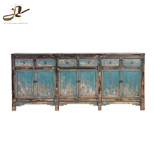 Handmade chic vintage wood 6 drawers cabinet for living room wood furniture