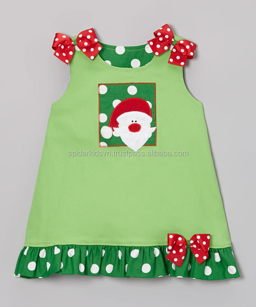 Lime Green Appliqued Santa Face A-line Dress With Bow