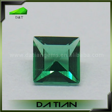 Green color customized shape emerald cut synthetic nano gemstone wuzhou jewelry