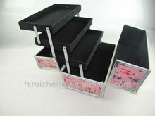 Pink makeup cosmetic train case aluminum beauty case with side tray RZ-T7PB