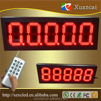 8.8.8.8.8 Outdoor 5 numbers 7 segment 8inch height RS232 Remote control TCP/IP petrol station pylon signs led digit price