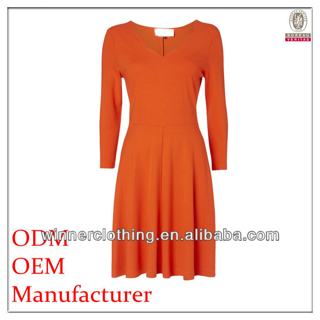 dress manufacturer loose-fitting pleated focus brand clothing with long sleeves and round neck