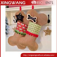 Personalize christmas fish shaped burlap dog bone stocking pet stocking for christmas