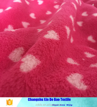 100polyester knit coral fleece fabric heart pattern fabric for thick fleece blankets