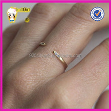 Value 925 silver ring 14k /18k gold plating ring opening with each two purple stone setting purity ring