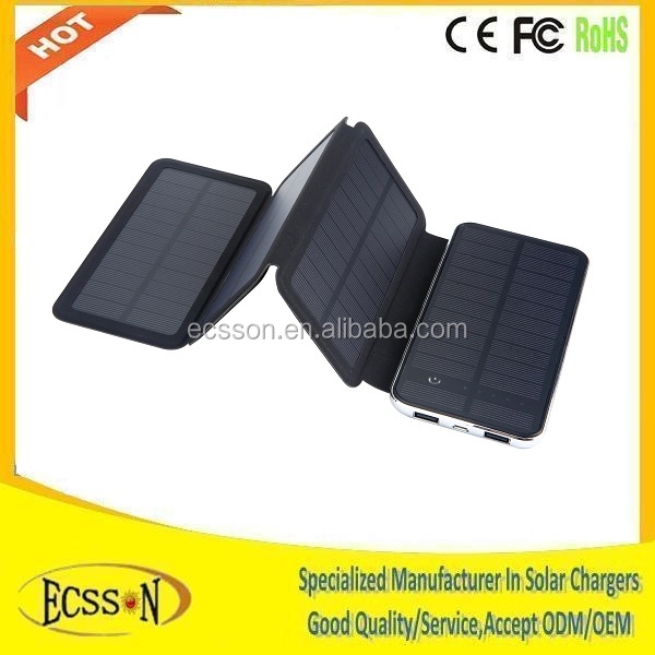 Save 50% 10000mAh solar panel power bank with 5V 6W super solar panel , OEM ODM solar cell power bank , ISO factory