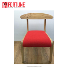 French antique reproduction oak wood red fabric dining chair(FOH-17R4-1)