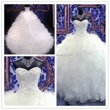 Mariage Ruffled Long Tail Princess Sweetheart Collar Custom Made Long Formal Bridal <strong>Design</strong> HS232 bridal robes