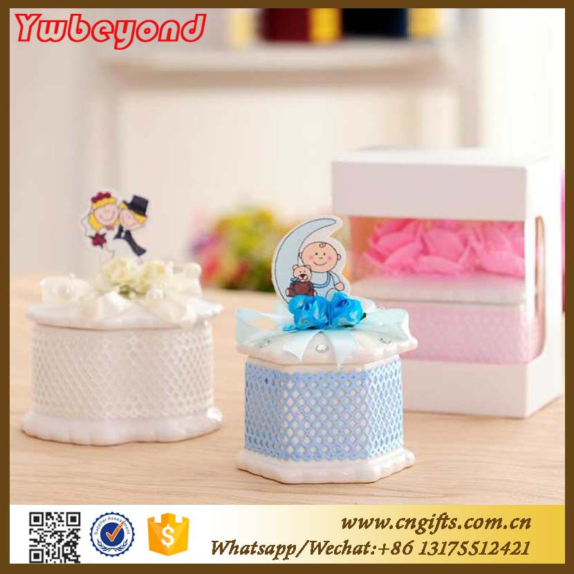 Ywbeyond Cute Wedding and Baby Shower Favor box Necklace Storage Box Ceramic Jewelry Box