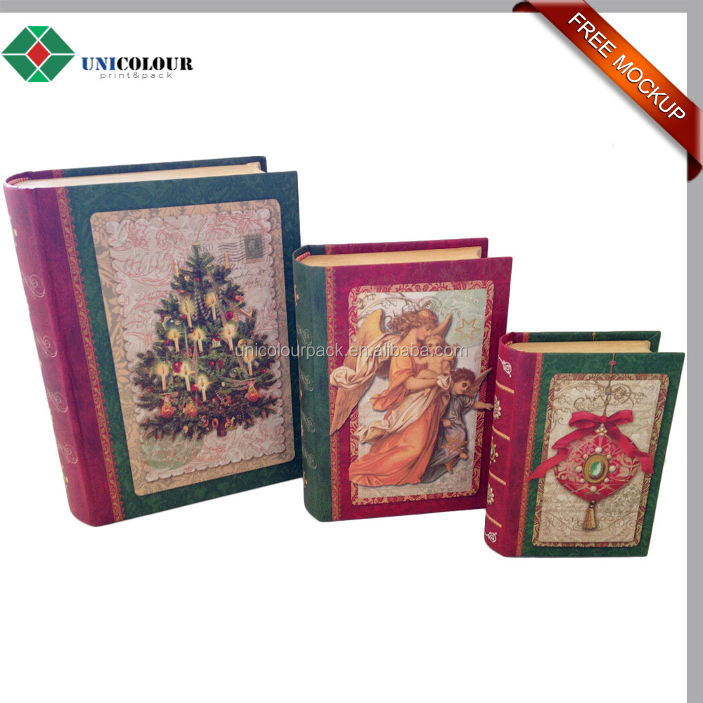 New style fake book shaped decorative christmas gift box customized