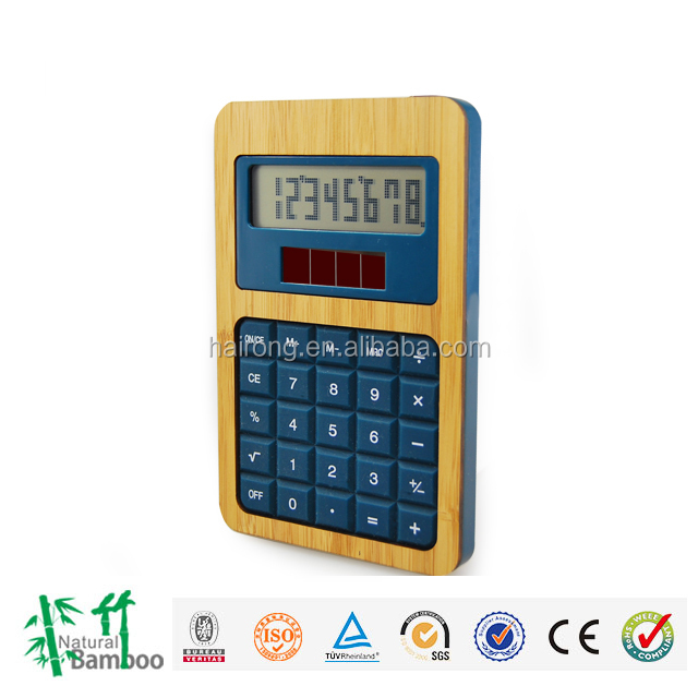 2016 hot selling product bamboo solar 8 digt dual power calculator with Anti-static and Radiation control