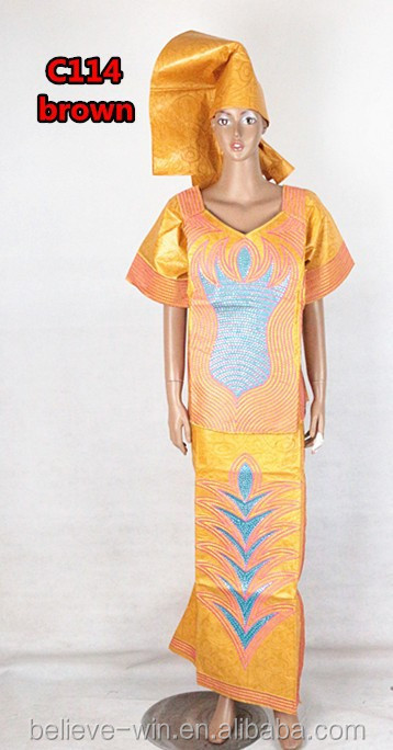Embroidery design dress nigerian clthing for lady of <strong>C114</strong> brown