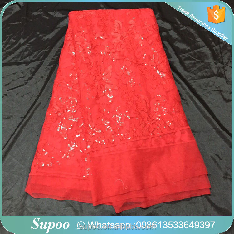 Fashionable designs for women lace fabric with sequins new sample