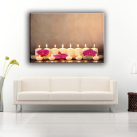 Upscale hotel lighted candle wall picture LED lights canvas print art painting