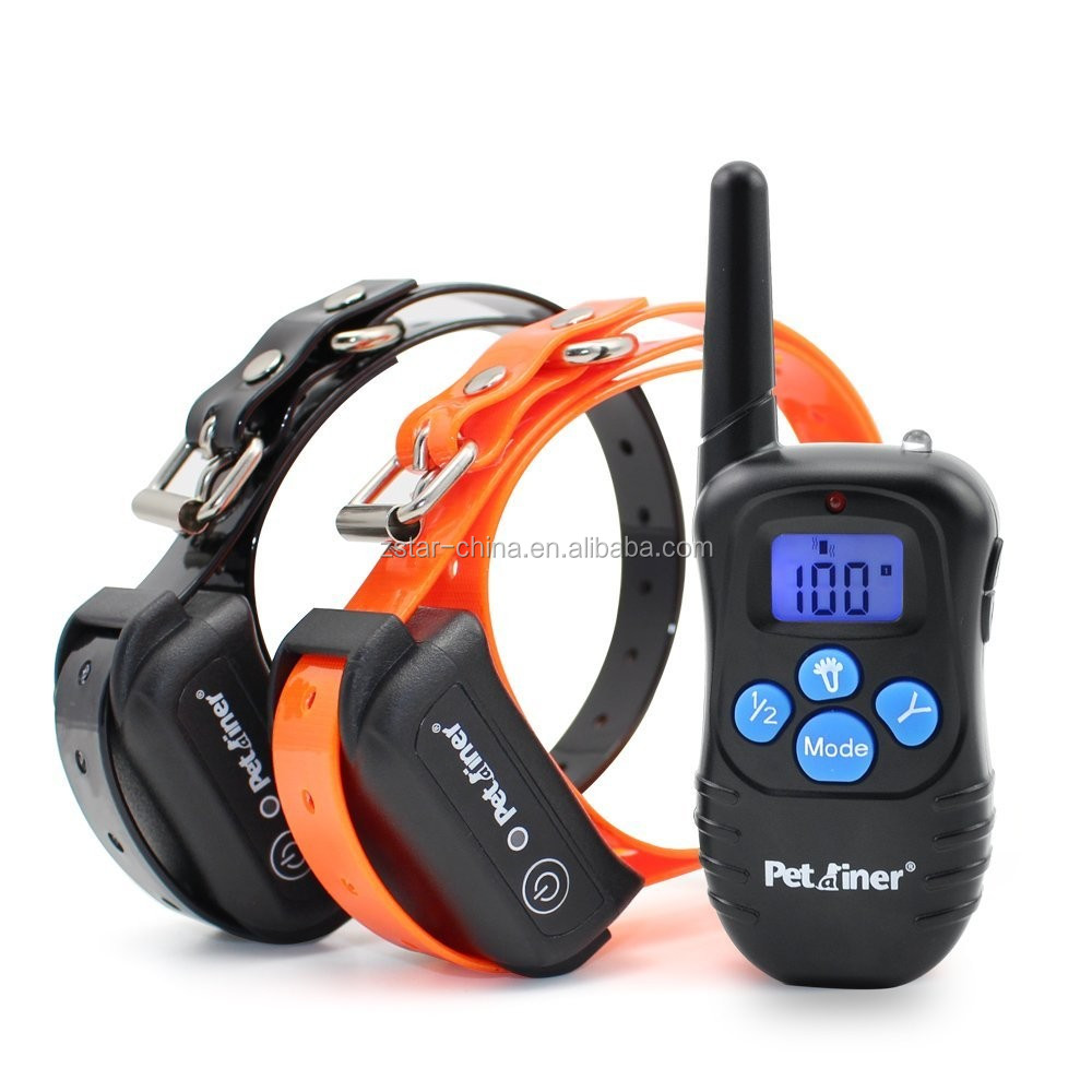 Petainer Pet998 300 Yards waterproof rechargeable remote pet dog training collars for 2 dogs