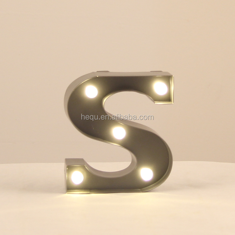 Factory Party Supplies 10CM height small cheap price light up led marquee standing metal letters made in China