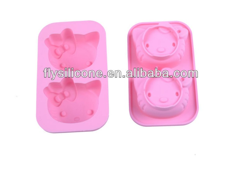 Pink Soft Hello Kitty Shape Ice Jelly Cube Trays Mold <strong>Silicon</strong>