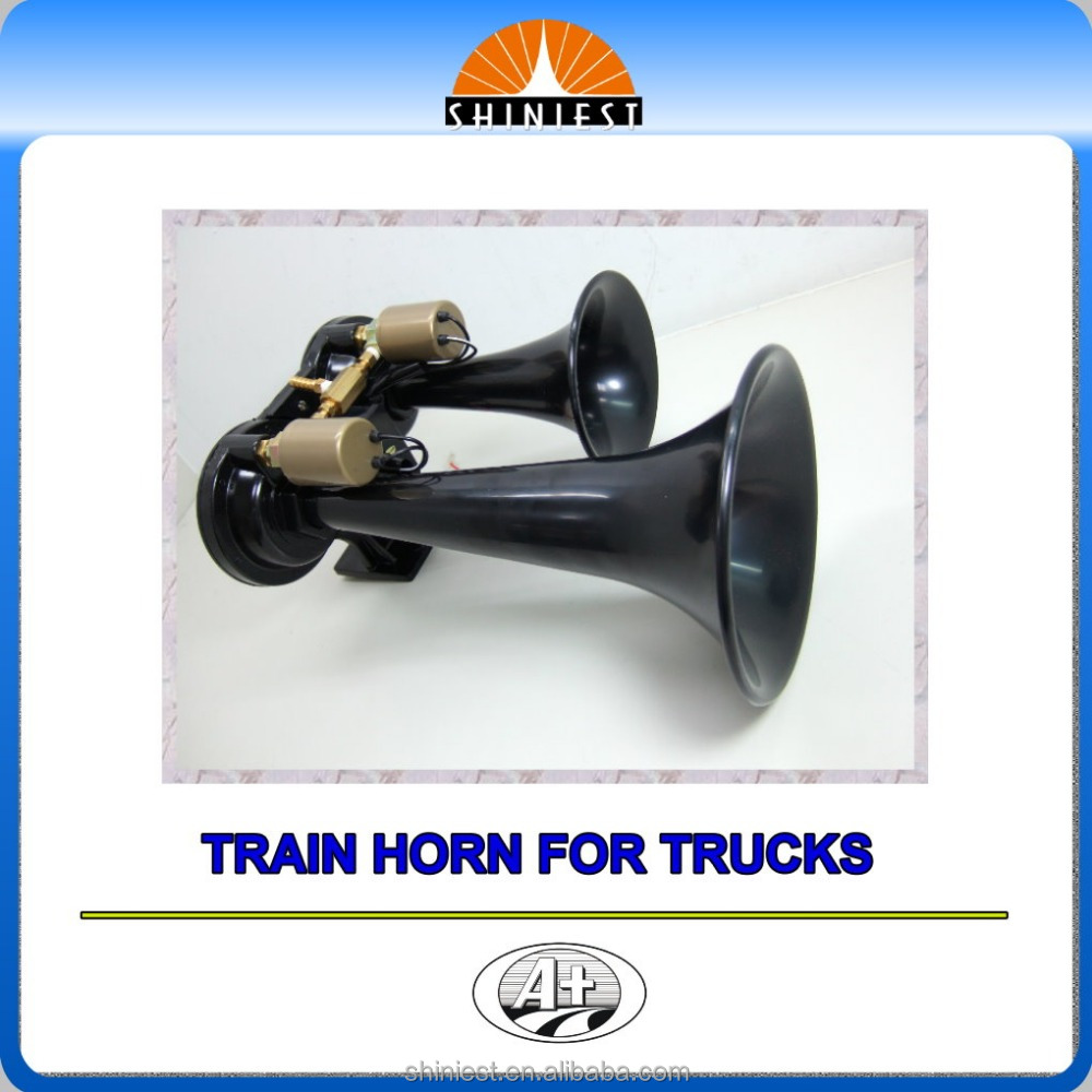 High sound level two tone with two round black plastic trumplets air horn for trucks