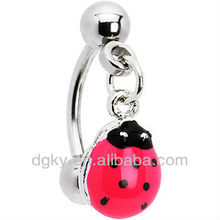 New design Stainless Steel Lady Bug Pink Dangle Eyebrow Ring