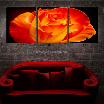 Contemporary Art 3 Piece Large Red Flower Modern Oil Painting Printed on Canvas