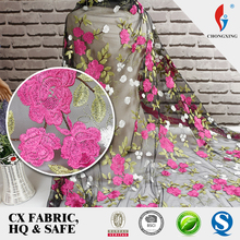 OEM service flower embroidery tulle lace fabric in stock