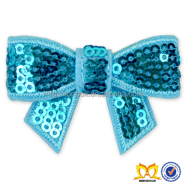 2016 New Fashion Sequined Blue Big Bow Can Be Used As Decorated On The Dress Sequined Big Bow