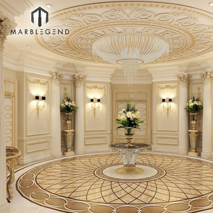 luxury foyer design Waterjet Round marble tile Floor Medallion for sale