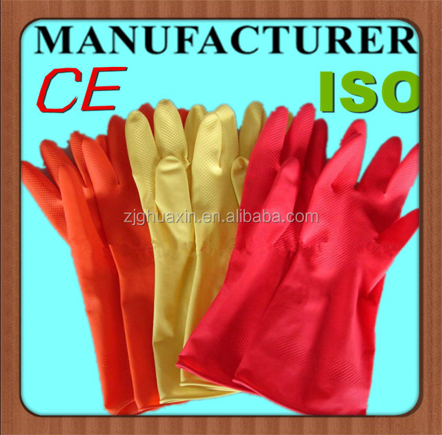 dip flock / spray lined CMYK printing natural latex custom design flocklined household gloves with long