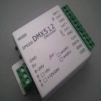 LED Dimmer Support WS2801and WS2811, no need SD card, 51kinds programs bult-in controller, DMX512 decoder