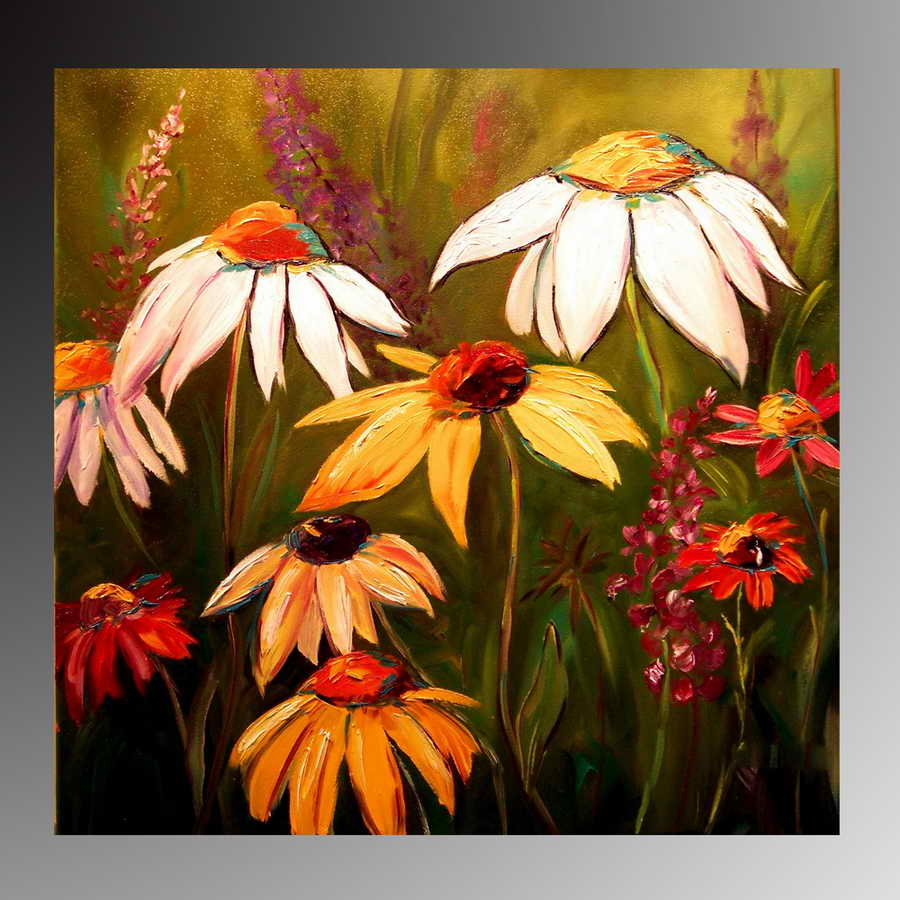 daisies flower oil painting,Abstract hand painted home decor wall arts canvas paintings, cheap wholesale Hot
