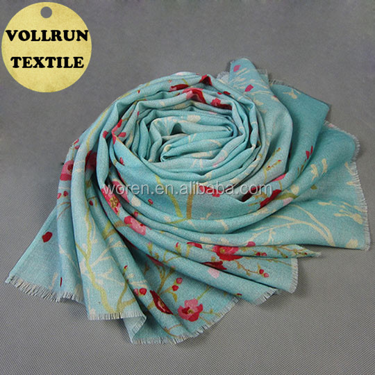 Buy Excellent Blue Scarf Shawl of 100 Wool Composition Digital Printed