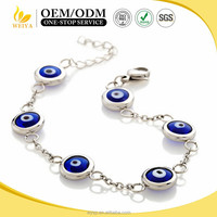 Turkish Blue Evil Eye Beads Chain Bracelet Protect Resin Nazar Judaica Jewelry
