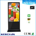 Super slim 55 inch indoor floor stand lcd touch screen loop video advertising display
