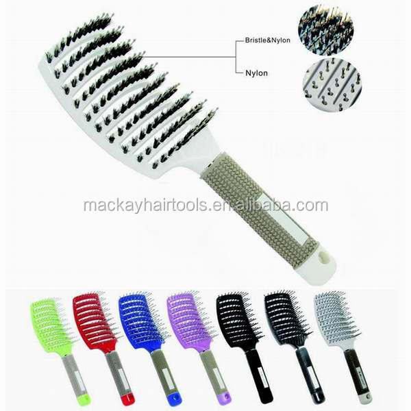 curved custom nylon mixing boar bristle beard curved vent hair brush