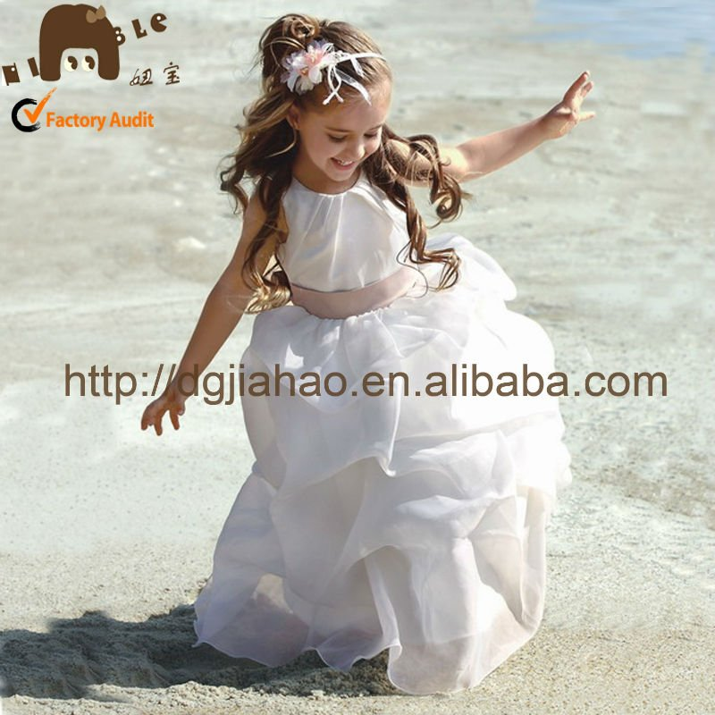 Hot sale !! satin& organza beaded children clothing/girl dress