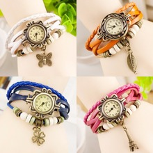 In Stock Ladies Quartz Leather Braided Charm Lady Watch Women Wrist Watch