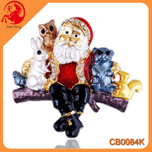 China Yiwu Jewelry Manufacturer Wholesale Christmas Fashion Santa Claus And Animal Shape Rhinestone Brooch Pin Top Qulity Brooch