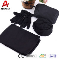 promotion 100% polyester polar fleece cheap scarff & hat & gloves sets