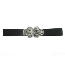 FM brand New Women Wide 4cm Elastic PU Decoration white Black Belt With Buckle