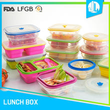 Factory price silicone material lunch foldable storage box