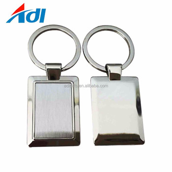 Cheap wholesale promotional plated nickel metal blank key chain with key rings