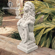 custom italian white marble stone animal sculpture garden decoration lion statue