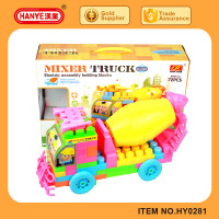 Child toy electric universal light music assembly mixer truck building blocks