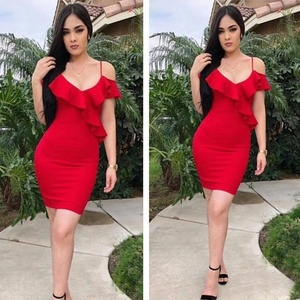 High Qanlity Simpe Cheap V Neck Sexy Celebirty Evening Party Rayon Bandage Dress Women