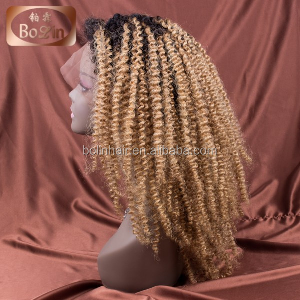 wholesale cheap malaysian afro kinky curly virgin curly human hair blonde human hair full lace wig