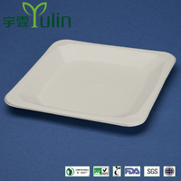 PL-08-S 8.25 inches different shapes disposable flate square shape sugarcane dinner plates