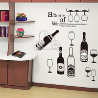 Wine glass and bottle wall sticker for kitchen/room decoration