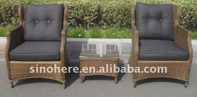 Doube rattan sun loungers with coffee table AK1311