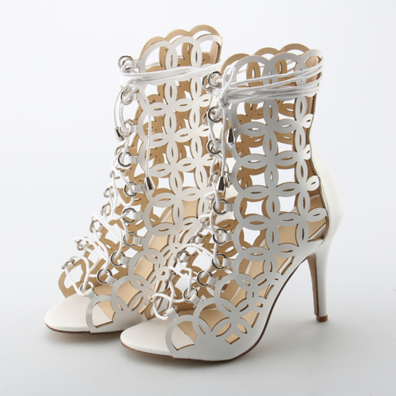 Thin Heels Front Lace Up White Women Sandals Handmade Summer Fashion Design  Cut Outs Women Shoes Genuine Leather Women Sandals 875c84869dde