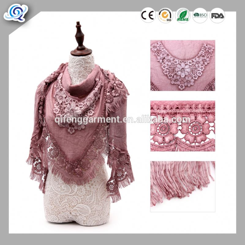 Pink color floral trim knit viscose polyester scarf
